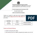 Part II Supply B.com B.a B.sc Admit Card Distribution