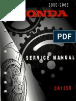 Honda CR 125 R Service Repair Manual 2000-2003