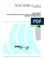 Project MESA; Service Specification Group - Services and Applications; Statement of Requirements