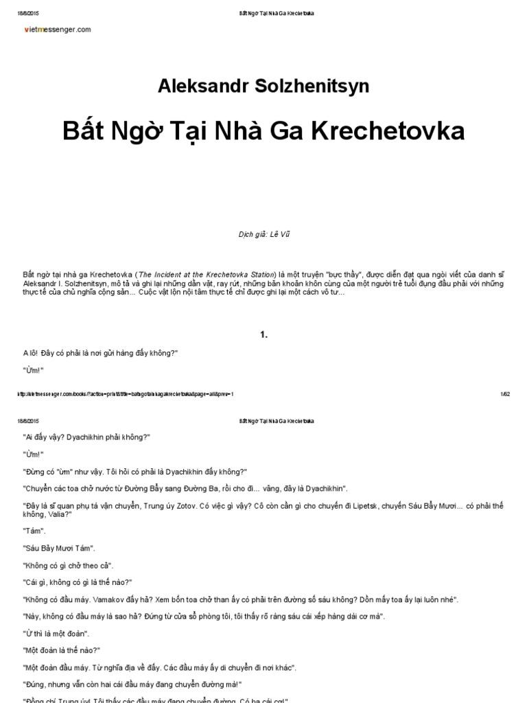 An Incident at Krechetovka Station - Bất Ngờ Tại Nhà Ga Krechetovka - Alexander Solzhenitsyn