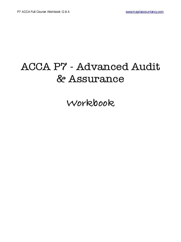 Acca p7 Workbook q & a PDF   Fair Value   Audit
