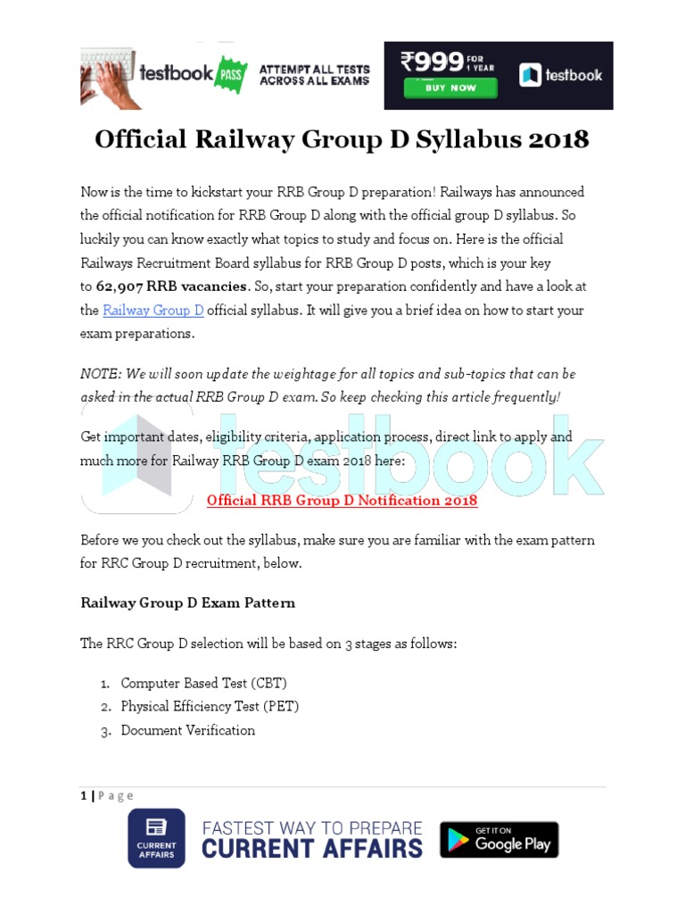 Rrc Group D Syllabus 2016 Pdf