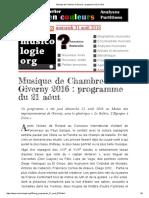 Musique de Chambre à Giverny_ Programme Du 21 Aôut