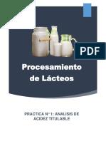 Lab. Practica -1- Procesamiento de Lacteos