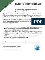 academic honesty exhibition contract