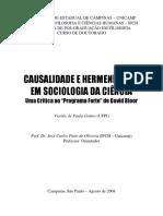 Gomes, Vicente de Paula - Causalidade e Hermenêutica Em Filosofia Da Ciência - Um Crítica Ao Programa Forte de David Bloor