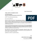 Carta Mincul Cusco 2018