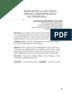 Los Origenes de La Doctrina Del Derecho Administrativo en Venezuela