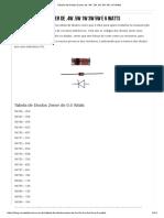 Tabela de Diodos Zener de .4W .5W 1W 3W 5W e 6 Watts