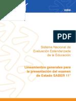 Lineamientos generales para la presentacion del examen de estado Saber 11 2015.pdf
