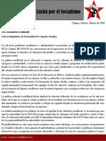 Colectivo Tsoblej - FNLS - Análisis y opinión sobre la FCS CAMPUS III, UNACH.
