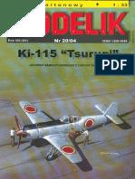 Modelik (2000 04) nakajima ki 115 ''tsurugi''