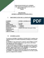 Programa Analitico y Contenido Quimica General 2016 Umsa