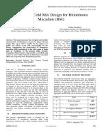 Emulsified Cold Mix Design for Bituminous Macadam