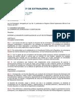 Ley de Extranjería, 2004.