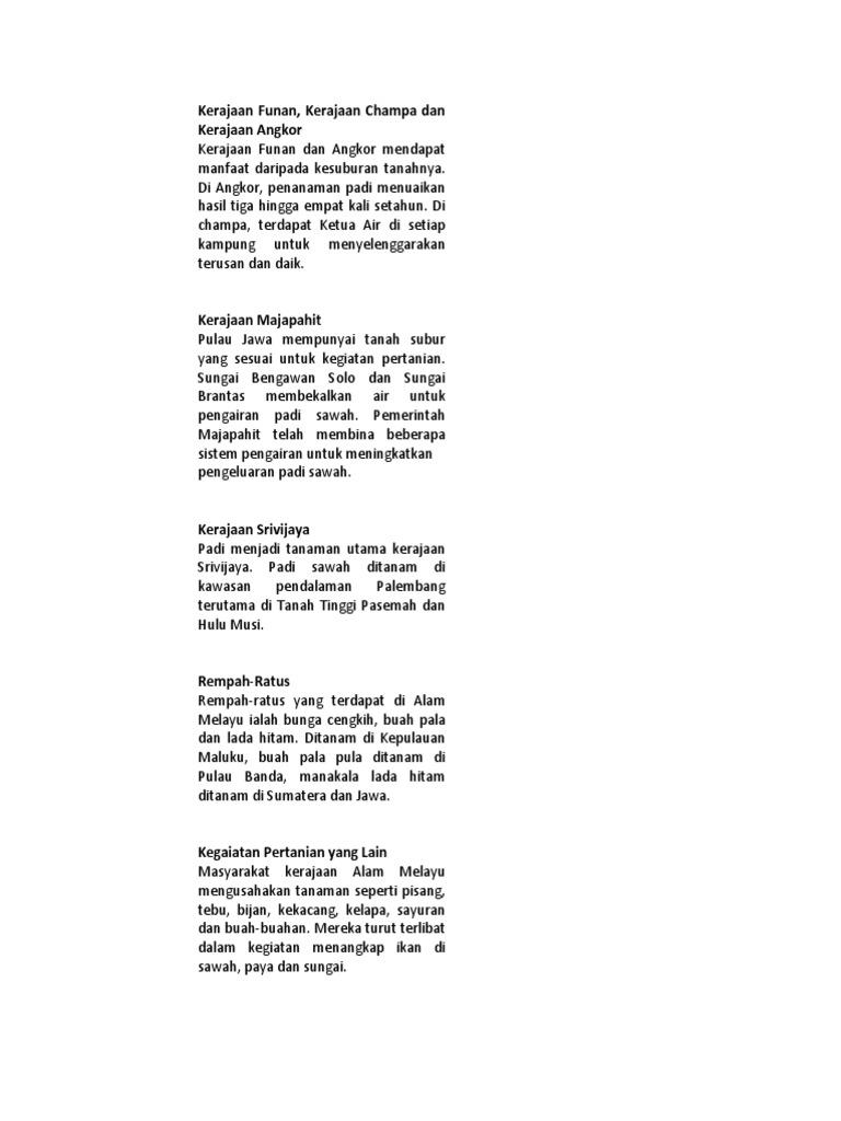 Menghuraikan Kegiatan Ekonomi Masyarakat Kerajaan Alam Melayu