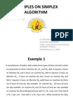 Examples on Simplex Algorithm