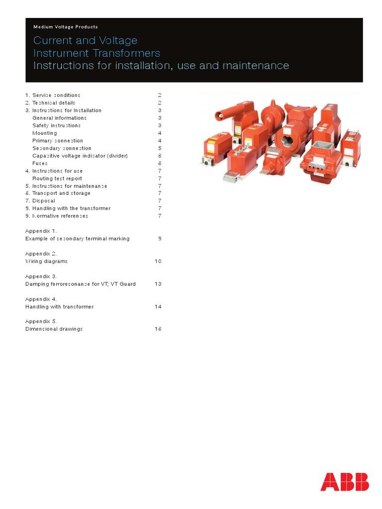 [DIAGRAM_4FR]  ABB MV Current and Voltage Transformers   Transformer   Fuse (Electrical)   Abb Current Transformer Wiring Diagram      Scribd