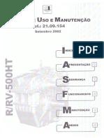 Livro de Uso e Manutenção Er-rv-500 Ht