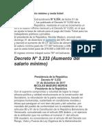 Aumento de Salario Mínimo y Cesta Ticket-2018