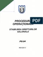 Procedura Operationala de Stabilire a Drepturilor Salariale