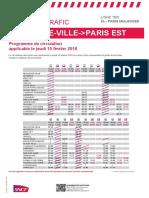 Plan de Transport Paris Est - Troyes - Belfort - Mulhouse du 15 Fevrier