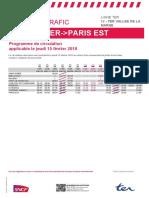 Plan de Transport Paris Est - Bar Le Duc - Saint Dizier du 15 Fevrier 2018