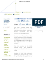 ASME Pressure Vessel Joint Efficiencies
