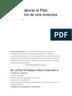 Cómo Elaborar El Plan Estratégico de Una Empresa