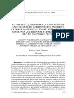 (FABAR, 2014) El Consentimiento Para La Aplicación de Las Tecnicas de Reproducción Asistida y La Doble Maternidad Legal. Analisis de La Sentencia Del Tribunal Supremo 740-2013, De 5 de Diciembre d