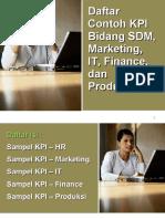 Daftar KPI SDM KPI Pemasaran KPI Keuangan dan KPI Produksi