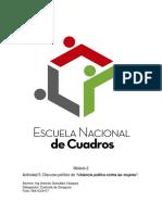 """Actividad 5. Discurso Político de """"Violencia Política Contra Las Mujeres""""."""