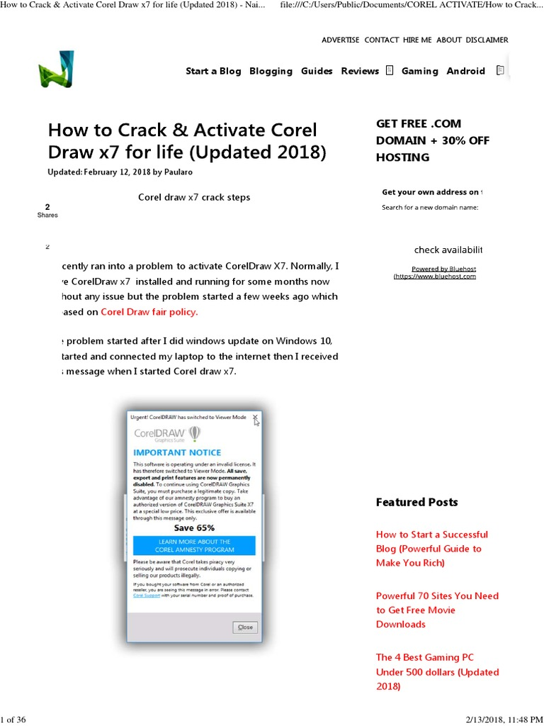 How to Crack & Activate Corel Draw x7 for Life (Updated 2018