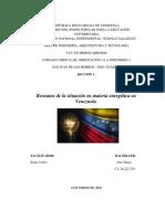 Resumen de La La Situacion Energetica de Venezuela