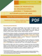 PLATAFORMA DE TRABAJADORES AUTOEMPLEADOS Y LA PROPUESTA DEL 2014 A CANDIDATOS MUNICIPALES