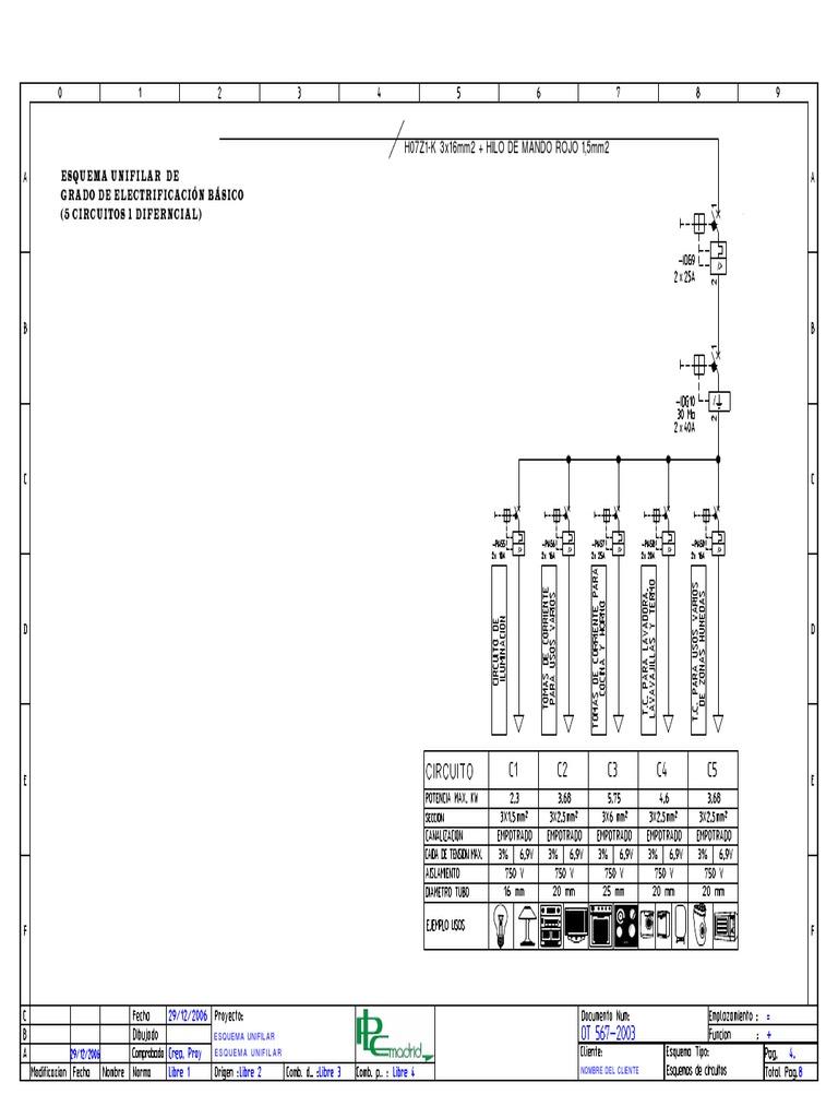 Circuito Unifilar : Esquema unifilar de grado de electrificacion basico circuitos