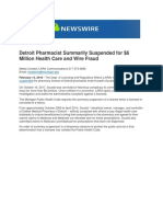 Detroit Pharmacist Summarily Suspended for $6 Million Health Care and Wire Fraud
