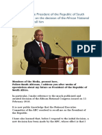 Statement of the President of the Republic of South Africa