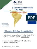 Informe de Competitividad Global 2010-2011 / Resultados para la región / INCAE