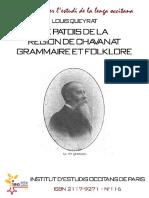 Louis QUEYRAT. Le patois de la région de Chavanat. Grammaire et folklore
