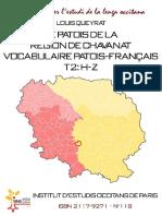 Louis QUEYRAT. Le patois de la région de Chavanat. Vocabulaire patois-français. t.2 (H-Z)