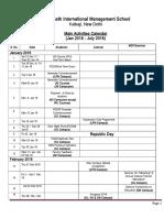 Main Activities Calendar-Jan to July 2018