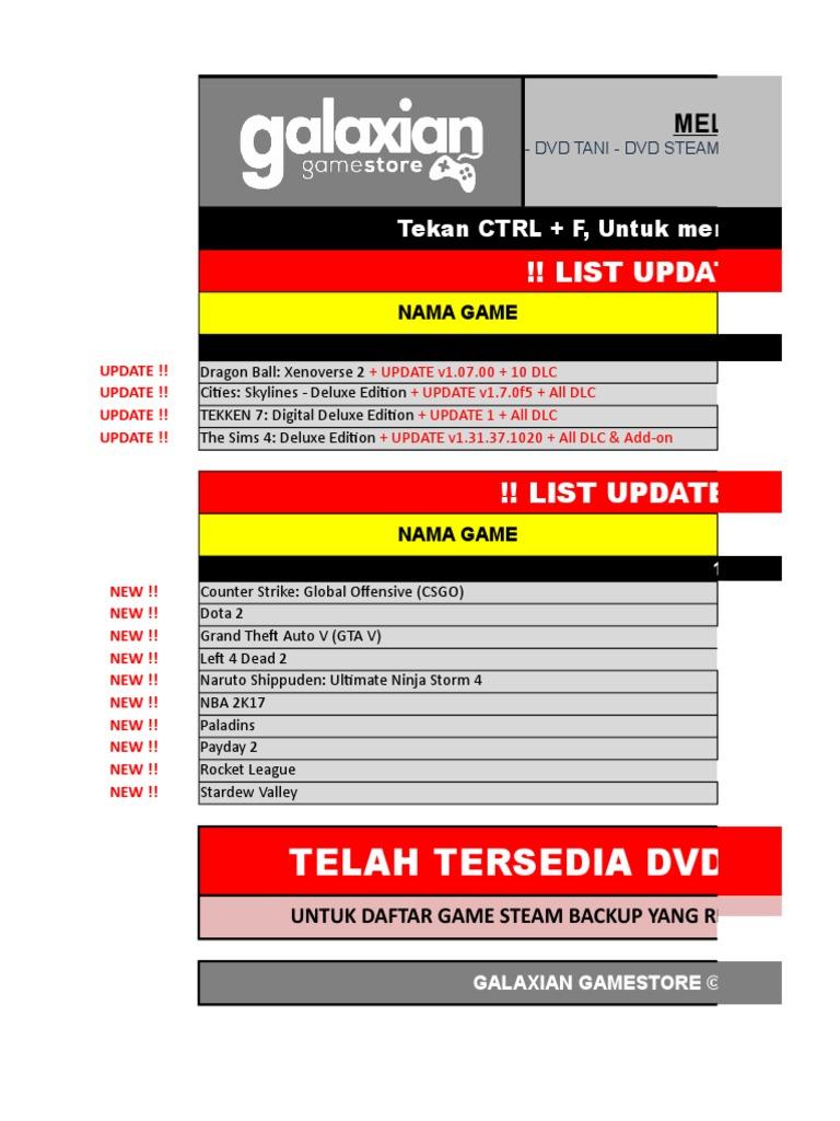List Galaxian Gamestore - 13 Juli 2017 | Electronic Games
