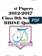 Baclochistan Board of Intermediate and Secondary Education Past Papers 9th Science 5 Years