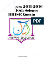Baclochistan Board of Intermediate and Secondary Education Past Papers 10th Science 5years