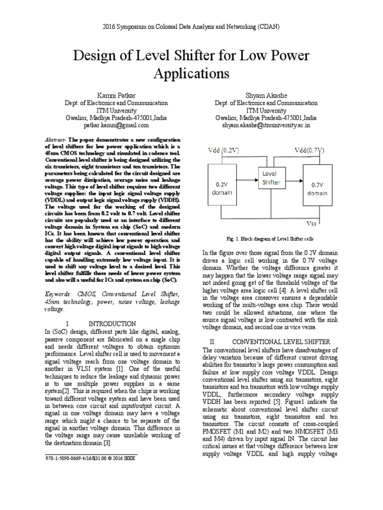 Level Shifter For Applications Electronic Circuits Cmos 0 Block Diagram