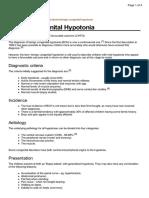 Benign Congenital Hypotonia