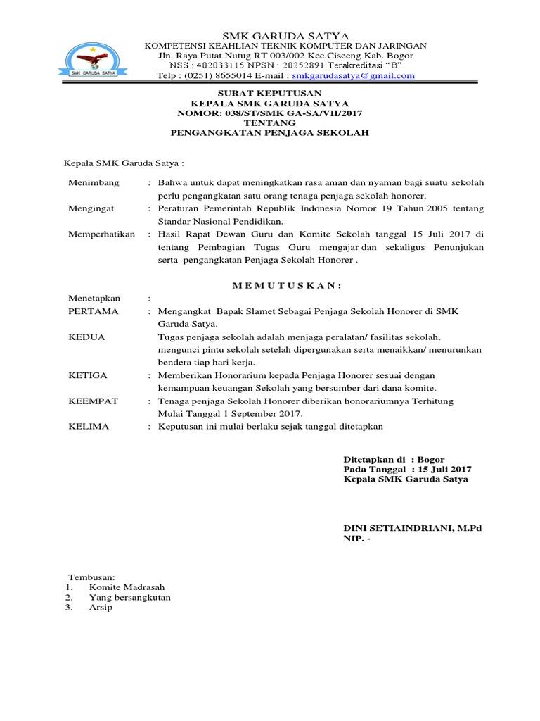 Surat Tugas Penjaga Sekolah