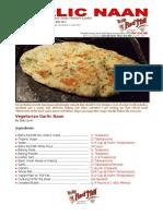 Bob Levin's Recipe for Vegetarian Garlic Naan Bread