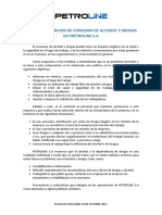 Politica de Prevencion Al Consumo de Alcohol y Drogas.